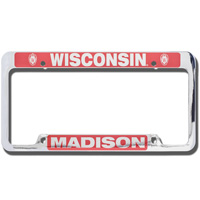 LXG Inc. Wisconsin Madison License Plate Frame (Silver/Red)