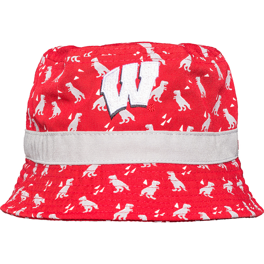 promo code b4368 79e8f New Era Infant Wisconsin Badgers Dino Bucket Hat (Red Grey)