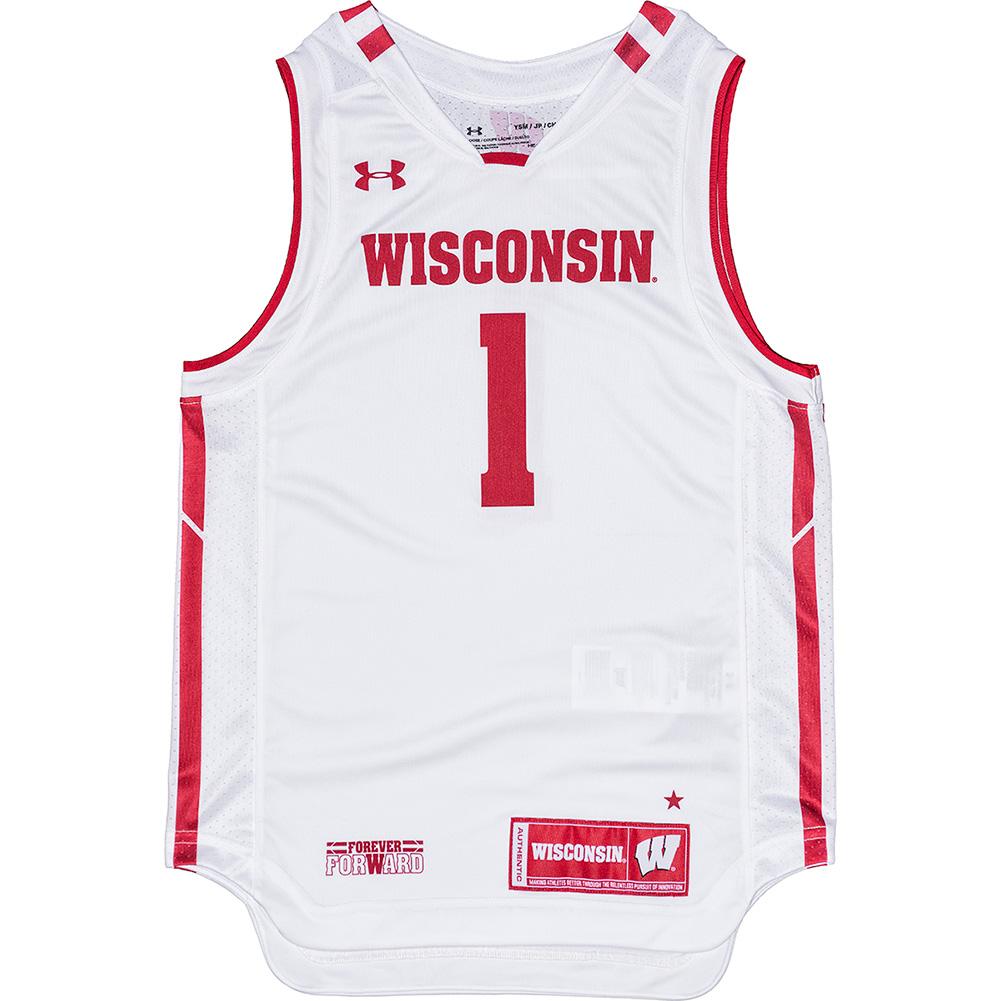 a405bc1f60e9 UW Alumni Store-Under Armour Youth WI Replica Basketball Jersey (White)