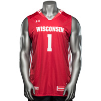 Image For Under Armour WI Replica Basketball Jersey #1 (Red) *