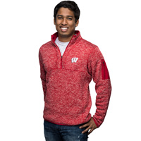 Image For Antigua Wisconsin ¼ Zip Sweater (Red) *