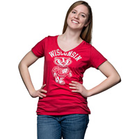 Image For Champion Women's Wisconsin Badgers V-Neck T-Shirt (Red) *