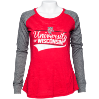 Image For Boxercraft Women's UW Patch Long Sleeve T-Shirt (Red/Gray)