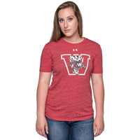 Image For Under Armour Women's Bucky Badger Triblend Crew Tee (Red)