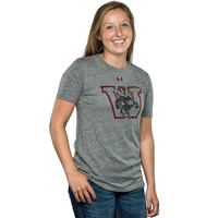 Image For Under Armour Women's Bucky Badger Triblend Crew Tee (Gray)