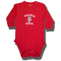 Image For College Kids Infant Wisconsin Long Sleeve Onesie (Red)