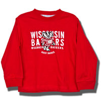Image For College Kids Toddler Long Sleeve Wisconsin T-Shirt (Red)