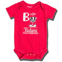 Image For College Kids B is for Bucky Onesie (Red)