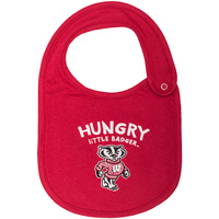 Image For College Kids Wisconsin Badger Baby Bib (Red)