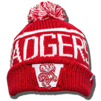Image For '47 Brand Badgers Knit Hat (Red/White)
