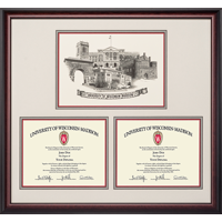 Cover Image For Alumni Artwork University of Wisconsin Double Diploma Frame