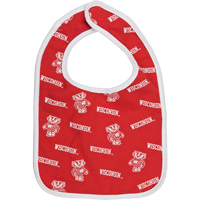 Image For Third Street Wisconsin and Bucky Badger Bib (Red)