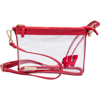 Image For Capri Designs Wisconsin Cross Body Clear Bag (Red)
