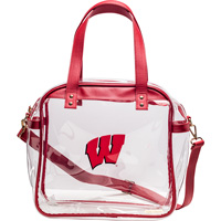 Image For Capri Designs Wisconsin Clear Tote Bag (Clear/Red)