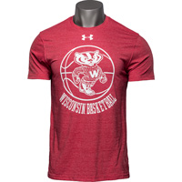 Cover Image For Under Armour Vault Bucky Badger Basketball T-Shirt (Red)