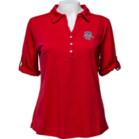 Image For Cutter & Buck Women's Bucky Badger ¾ Sleeve Polo (Red) *