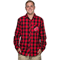 Image For Boxercraft Wisconsin Flannel Shirt (Red/Black)