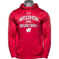 Image For Under Armour Wisconsin Basketball Hooded Sweatshirt (Red)