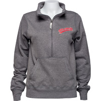 Image For Alta Gracia Women's Wisconsin ½ Zip Sweatshirt (Charcoal) *