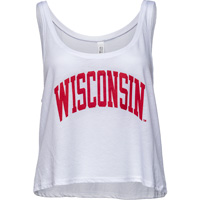 Image For Top Promotions Women's Wisconsin Crop Tank Top (White)