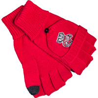 Image For Logofit Smart Touch Flip Top Bucky Badger Mittens (Red)