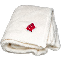 Image For Boxercraft Wisconsin Sherpa Blanket (White)