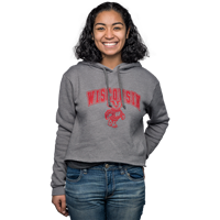 Image For Blue 84 Women's Wisconsin Crop Hooded Sweatshirt (Gray)