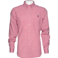 Image For Antigua Wisconsin Plaid Button Down Shirt (Red/White)