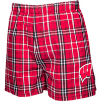 Image For Boxercraft Wisconsin Plaid Flannel Boxer Shorts (Red)