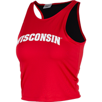 Image For ZooZatz Women's Arched Wisconsin Crop Top (Red)