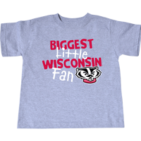 Image For College Kids Toddler Wisconsin Fan T-Shirt (Gray)
