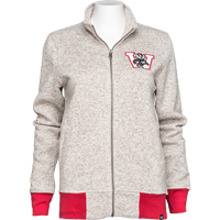Image For '47 Brand Women's Full Zip Wisconsin Sweater (Heather White)