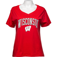 Image For Alta Gracia Women's Wisconsin V-Neck T-Shirt (Red)
