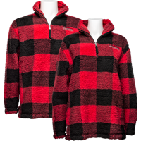 Image For Boxercraft Wisconsin Buffalo Check Fleece ¼ Zip (Red/Black)