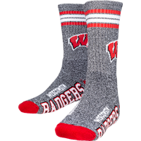 Image For For Bare Feet Wisconsin Badgers Socks (Marbled Gray)