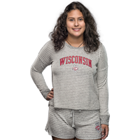 Cover Image For Boxercraft Women's Wisconsin Boxy Crew Neck (Gray/White)