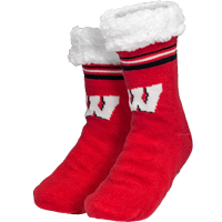 Image For FOCO Wisconsin Slipper Socks (Red)