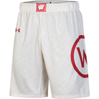 Image For Under Armour Wisconsin Throwback Basketball Shorts (Cream) *